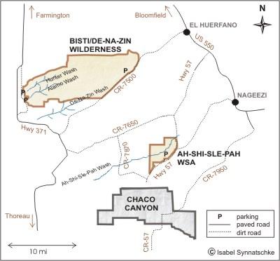 Bisti De-Na-Zin Wilderness and Ah-shi-sle-pah Map