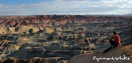 Bunte Badlands so weit das Auge reicht am Scenic Overlook vom Little Painted Desert County Park nördlich von Winslow