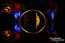 Die beleuchtete Rakotzbrücke beim Open-Air-Festival Kromlau Classic im Kromlauer Park