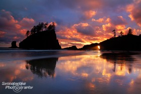 The fantastic clouds and the light beam through the arch at Second Beach in Olympic National Park was probably the most exciting sunset we had this Spring in the Pacific Northwest.