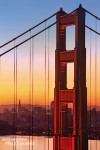 Sonnenaufgang an der Golden Gate Bridge in San Francisco