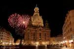Feuerwerk hinter der Frauenkirche beim Dixieland Festival in Dresden
