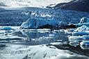 Auch Teil der mächtigten Eiskappe des Vatnajökull Gletschers, die Eislagunen Jökulsarlon und Fjallsarlon