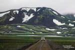 Leider spielte das Wetter an der F208 von Landmannalaugar nach Süden nicht mehr ganz so mitt, die meisten der schönen grünen Berge waren dicht in Nebel eingehüllt.