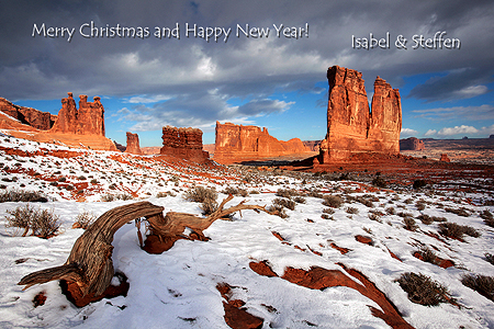 Merry Christmas and a Happy New Year - ein Foto aus dem letzten Winter vom Arches Nationalpark