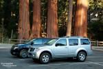 Unser Nissan Pathfinder am ehemaligen Mariposa Grove Parkplatz im Yosemite Nationalpark