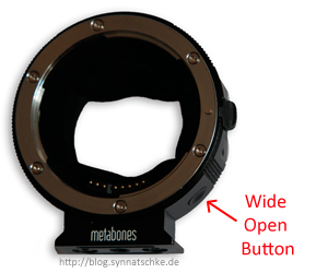 Metabones wide-open button
