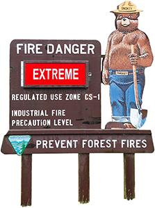 Smokey the Bear, das Maskottchen des US National Forest Service warnt für extrem hoher Waldbrand-Gefahr