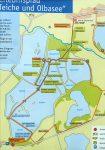 An den Eingängen zu den Guttauer Teichen ist der Rundweg auf Karten skizziert. Wir möchten ihn aber anderes empfehlen: im Süden nicht auf der befahrenen Hauptstraße, sondern entlang des Nordufers der Tongrube (leider nicht eingezeichnet).